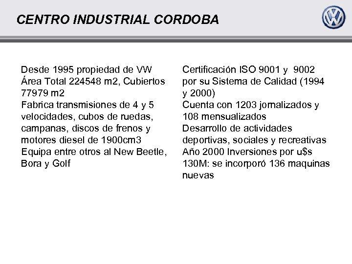 CENTRO INDUSTRIAL CORDOBA Desde 1995 propiedad de VW Área Total 224548 m 2, Cubiertos