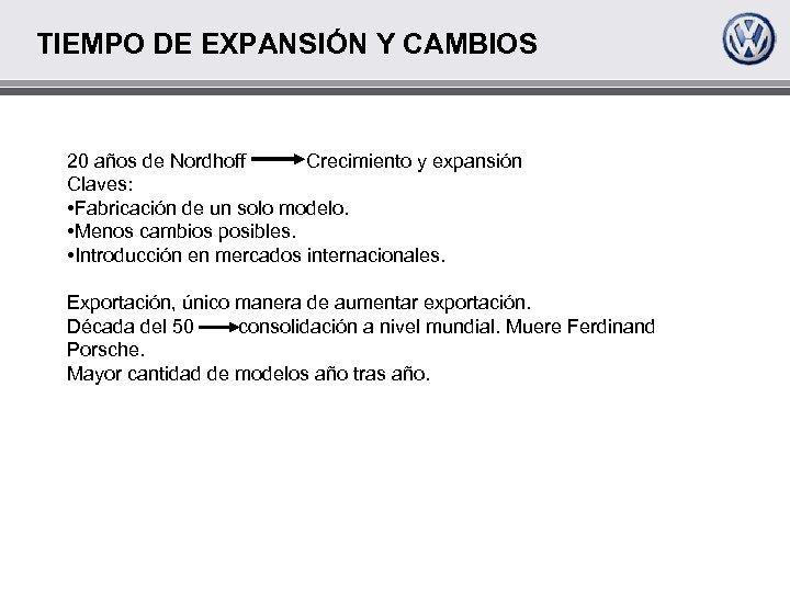 TIEMPO DE EXPANSIÓN Y CAMBIOS 20 años de Nordhoff Crecimiento y expansión Claves: •