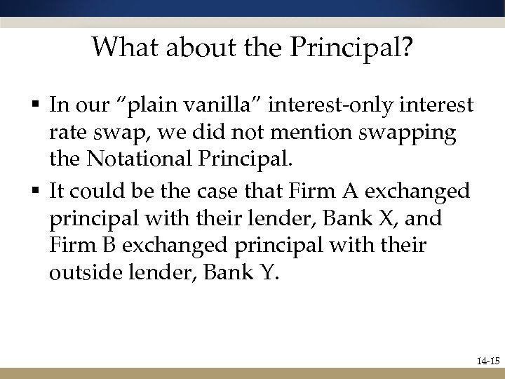 "What about the Principal? § In our ""plain vanilla"" interest-only interest rate swap, we"