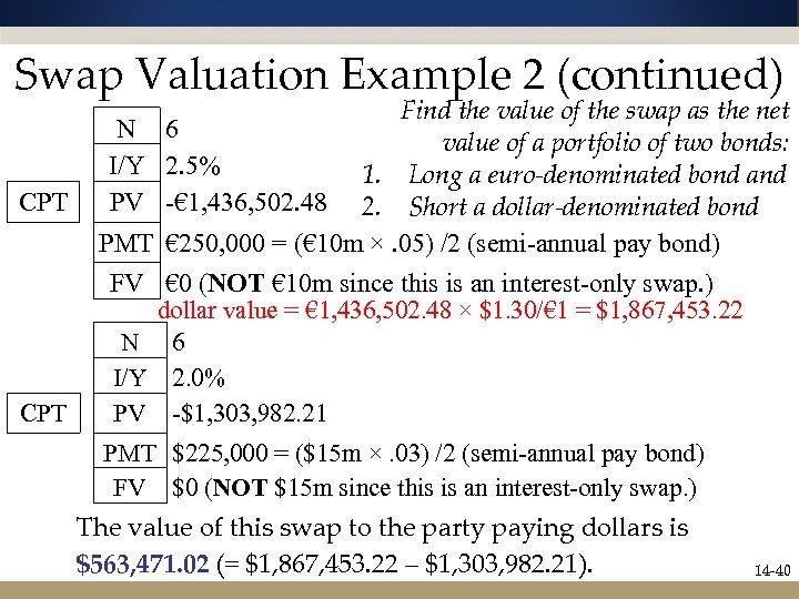 Swap Valuation Example 2 (continued) Find the value of the swap as the net