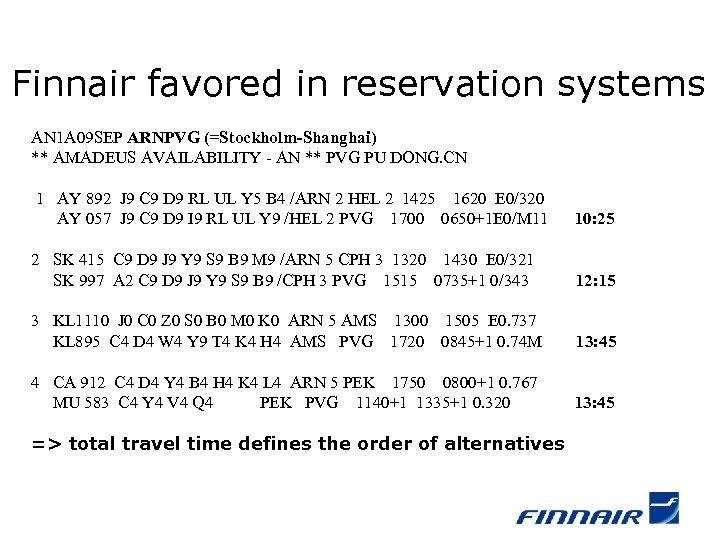Finnair favored in reservation systems AN 1 A 09 SEP ARNPVG (=Stockholm-Shanghai) ** AMADEUS