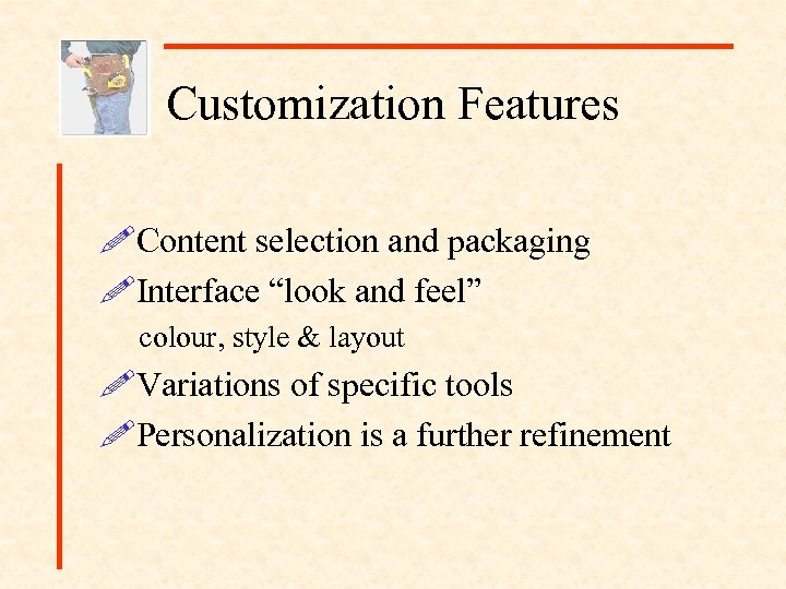 "Customization Features !Content selection and packaging !Interface ""look and feel"" colour, style & layout"