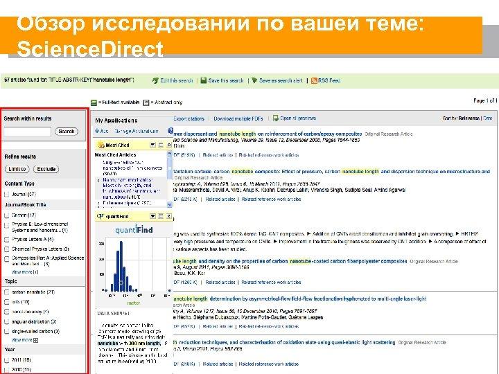 Обзор исследований по вашей теме: Science. Direct 12