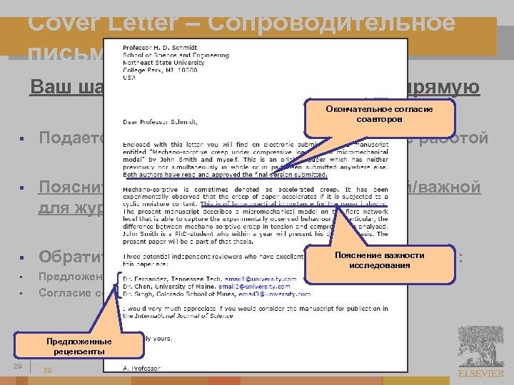 Cover Letter – Сопроводительное письмо Ваш шанс обратиться к редактору напрямую Окончательное согласие соавторов