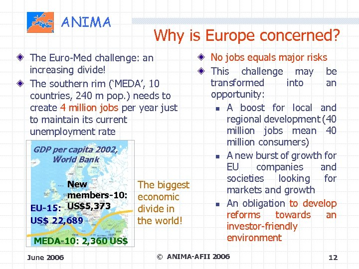 ANIMA Why is Europe concerned? The Euro-Med challenge: an increasing divide! The southern rim
