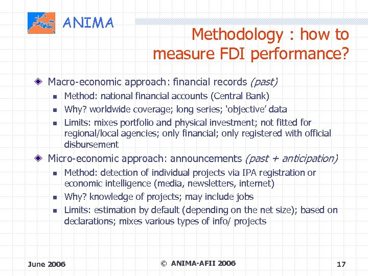 ANIMA Methodology : how to measure FDI performance? Macro-economic approach: financial records (past) Method: