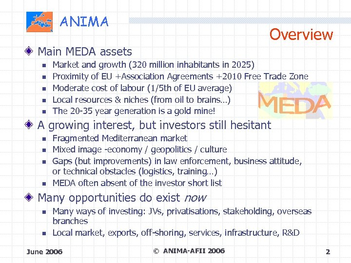 ANIMA Overview Main MEDA assets Market and growth (320 million inhabitants in 2025) Proximity