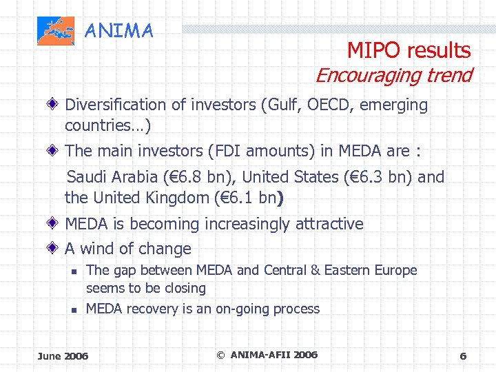 ANIMA MIPO results Encouraging trend Diversification of investors (Gulf, OECD, emerging countries…) The main