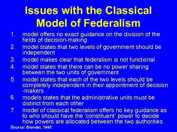 Issues with the Classical Model of Federalism 1. 2. 3. 4. 5. 6. 7.