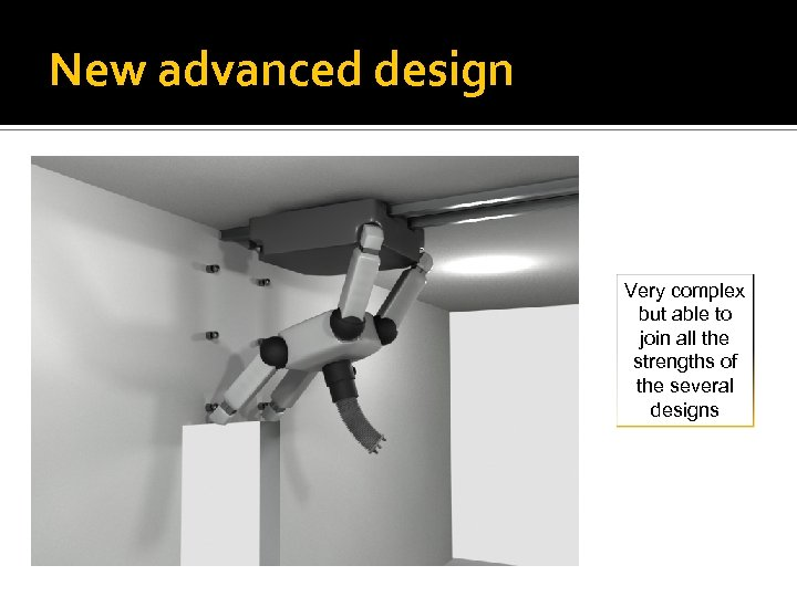 New advanced design Very complex but able to join all the strengths of the