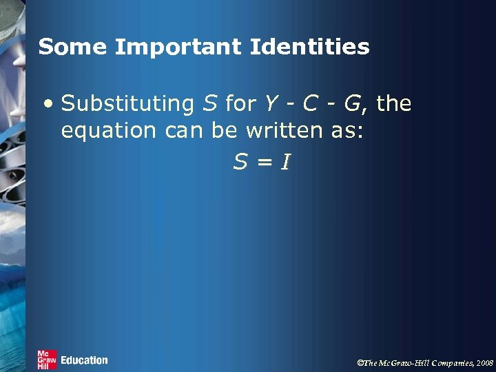 Some Important Identities • Substituting S for Y - C - G, the equation