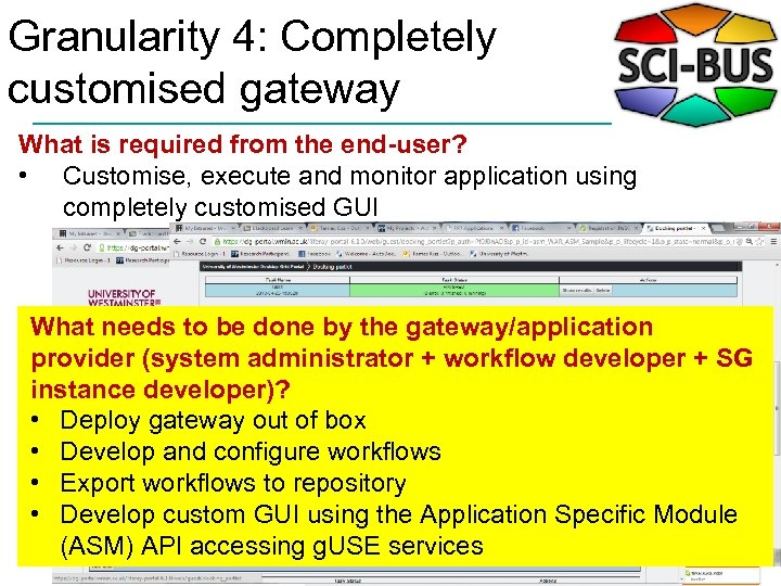 Granularity 4: Completely customised gateway What is required from the end-user? • Customise, execute
