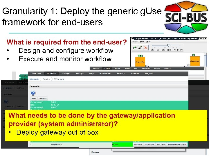 Granularity 1: Deploy the generic g. Use framework for end-users What is required from