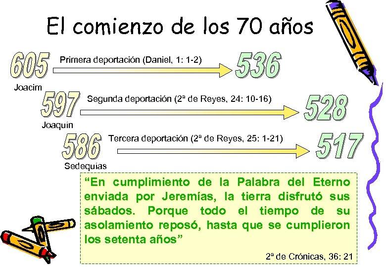 El comienzo de los 70 años Primera deportación (Daniel, 1: 1 -2) Joacim Segunda