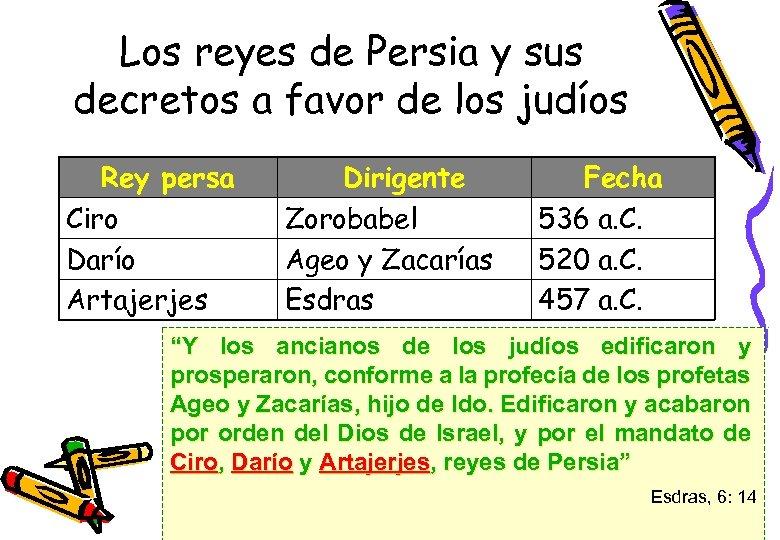 Los reyes de Persia y sus decretos a favor de los judíos Rey persa