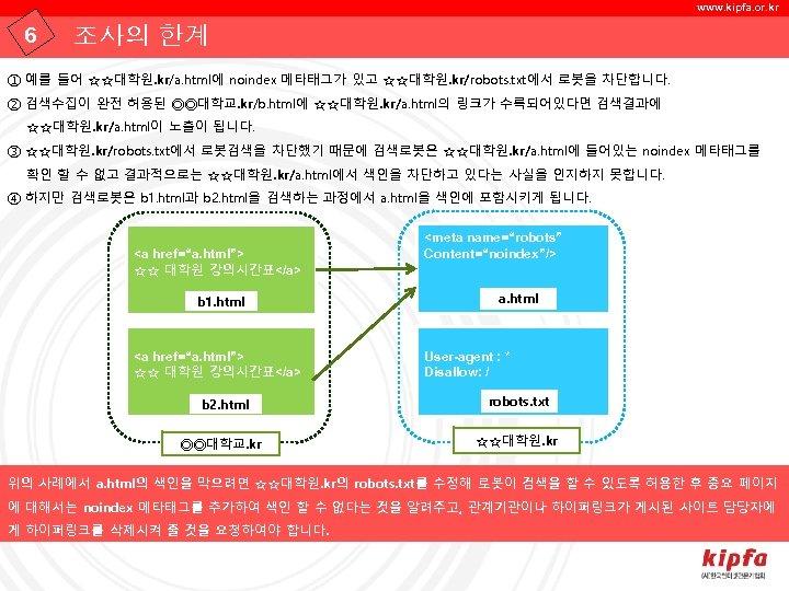 www. kipfa. or. kr 6 조사의 한계 ① 예를 들어 ☆☆대학원. kr/a. html에 noindex