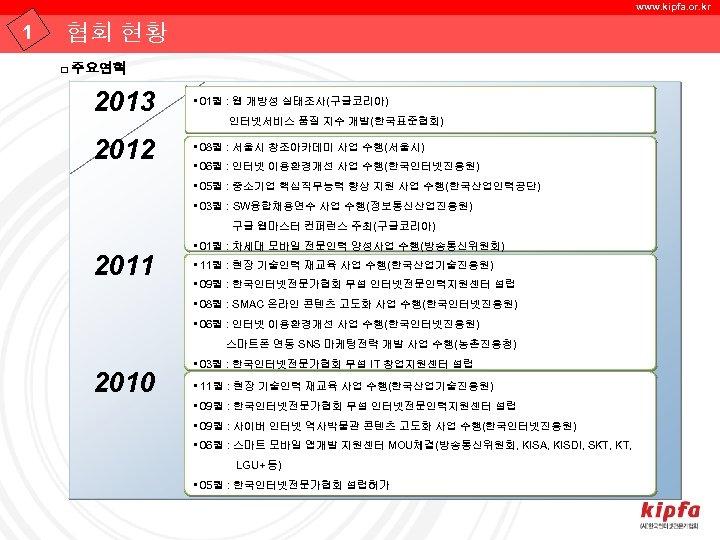 www. kipfa. or. kr 1 협회 현황 □ 주요연혁 2013 • 01월 : 웹