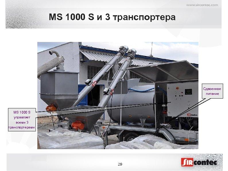 MS 1000 S и 3 транспортера Сдвоенное питание MS 1000 S управляет всеми 3