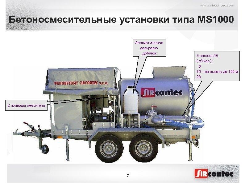 Бетоносмесительные установки типа MS 1000 Автоматическая дозировка добавок 2 приводы смесителя 7 3 насосы