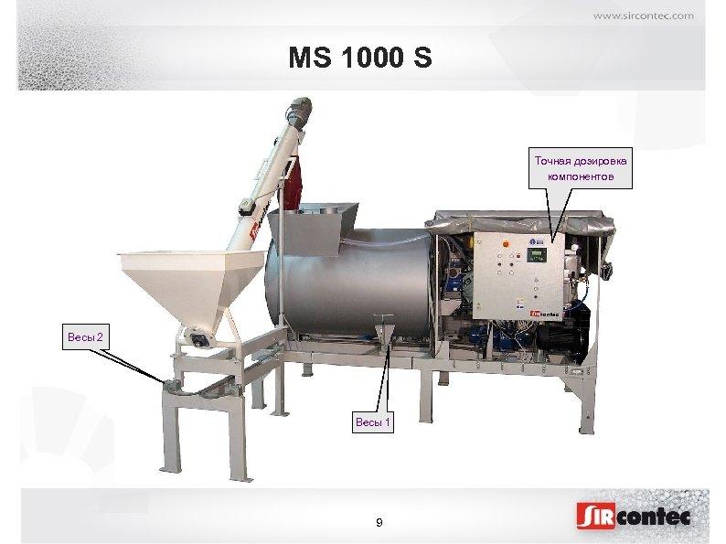 MS 1000 S Точная дозировка компонентов Весы 2 Весы 1 9