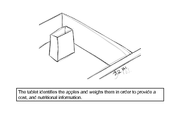 The tablet identifies the apples and weighs them in order to provide a cost,