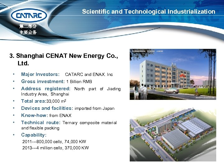 Scientific and Technological Industrialization 第二部分 主要业务 3. Shanghai CENAT New Energy Co. , Ltd.