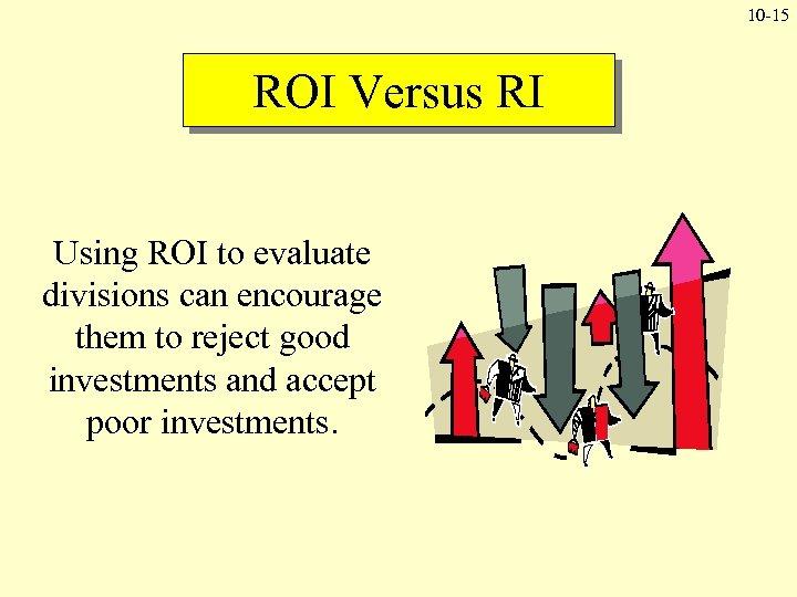 10 -15 ROI Versus RI Using ROI to evaluate divisions can encourage them to