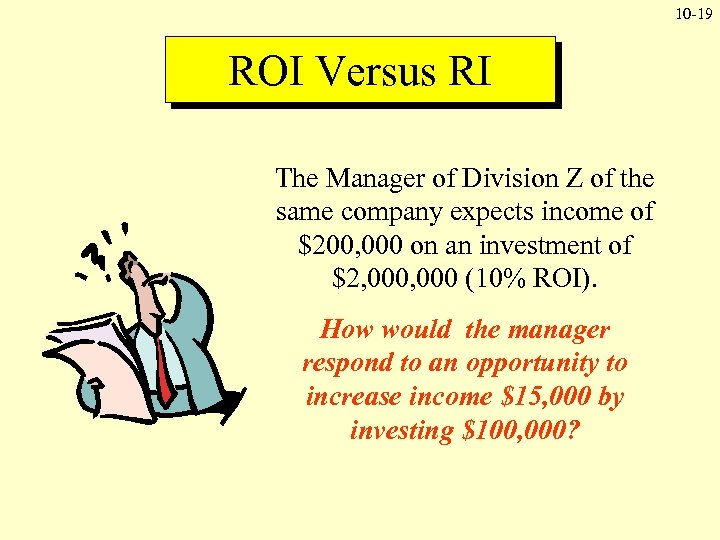 10 -19 ROI Versus RI The Manager of Division Z of the same company