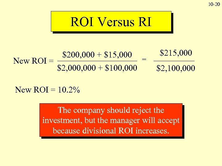 10 -20 ROI Versus RI New ROI = $200, 000 + $15, 000 $2,
