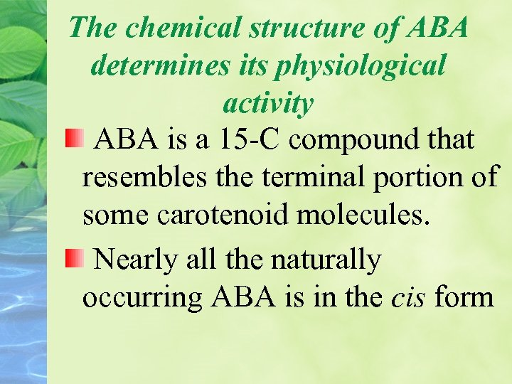 The chemical structure of ABA determines its physiological activity ABA is a 15 -C