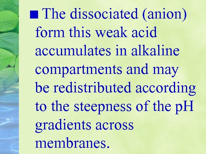 The dissociated (anion) form this weak acid accumulates in alkaline compartments and may be