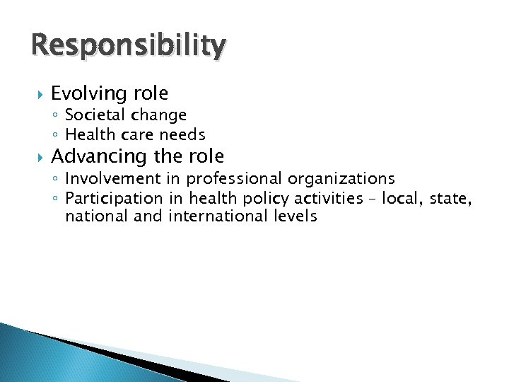 Responsibility Evolving role ◦ Societal change ◦ Health care needs Advancing the role ◦