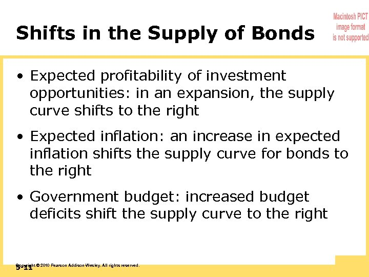 Shifts in the Supply of Bonds • Expected profitability of investment opportunities: in an