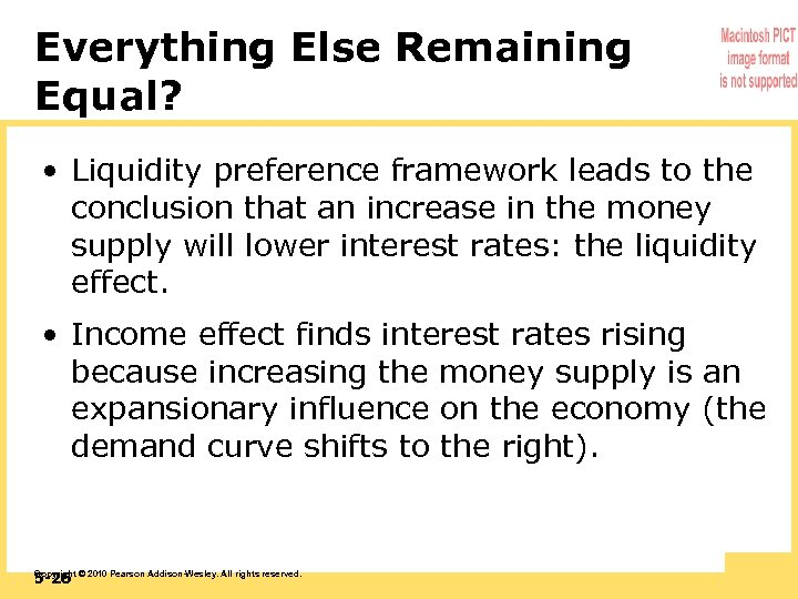 Everything Else Remaining Equal? • Liquidity preference framework leads to the conclusion that an