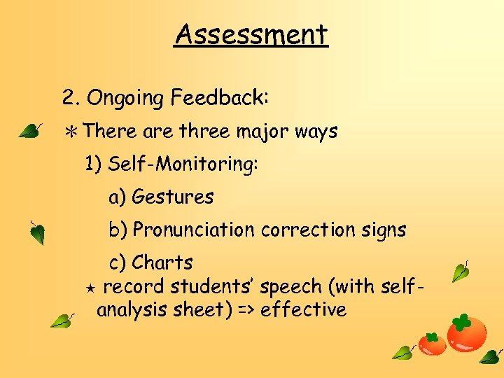 Assessment 2. Ongoing Feedback: *There are three major ways 1) Self-Monitoring: a) Gestures b)
