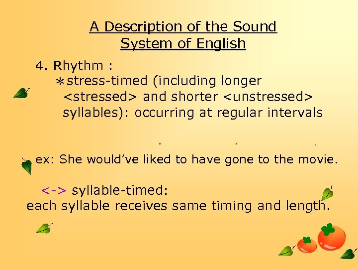 A Description of the Sound System of English 4. Rhythm : *stress-timed (including longer
