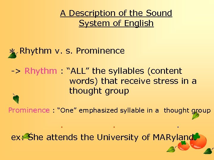 A Description of the Sound System of English * Rhythm v. s. Prominence ->