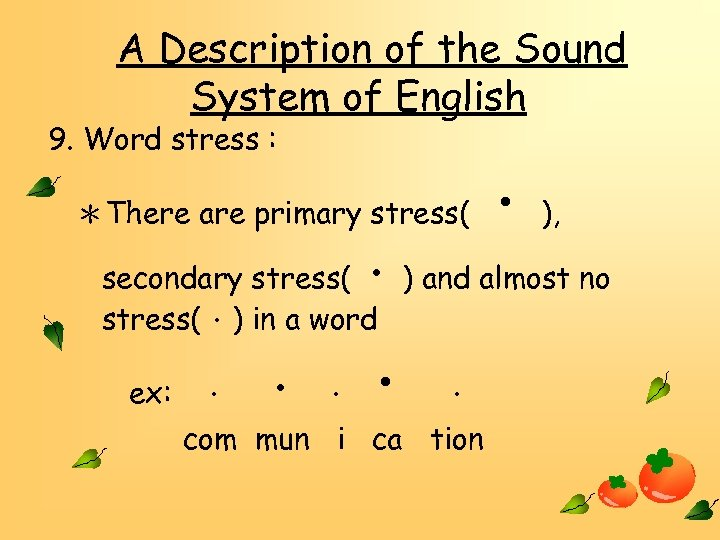 A Description of the Sound System of English 9. Word stress : *There are