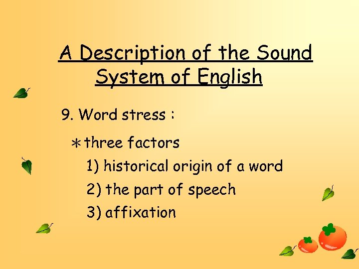 A Description of the Sound System of English 9. Word stress : *three factors