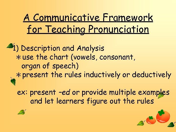 A Communicative Framework for Teaching Pronunciation 1) Description and Analysis *use the chart (vowels,