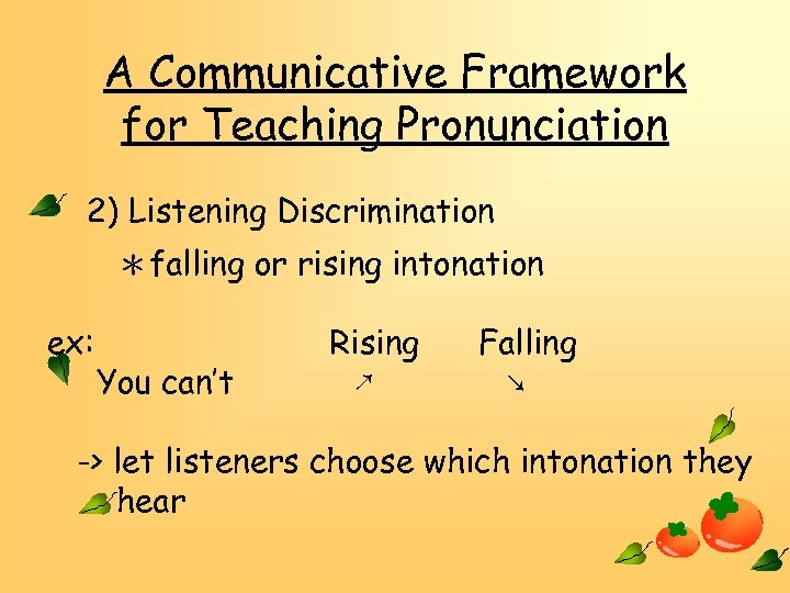 A Communicative Framework for Teaching Pronunciation 2) Listening Discrimination *falling or rising intonation ex: