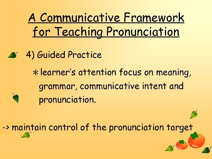 A Communicative Framework for Teaching Pronunciation 4) Guided Practice *learner's attention focus on meaning,