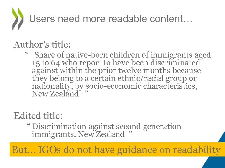 "Users need more readable content… Author's title: "" Share of native-born children of immigrants"