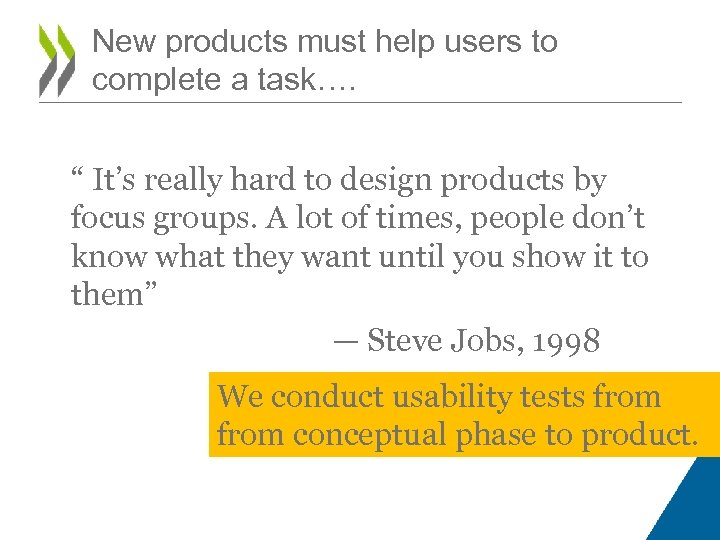 "New products must help users to complete a task…. "" It's really hard to"