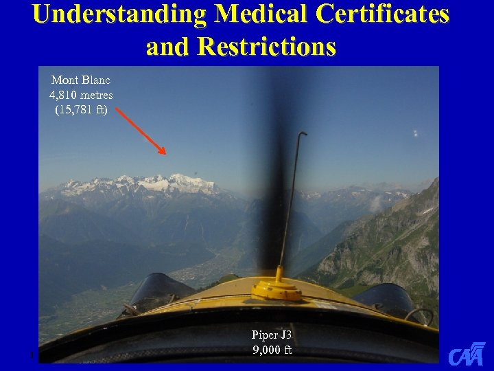 Understanding Medical Certificates and Restrictions Mont Blanc 4, 810 metres (15, 781 ft) 1