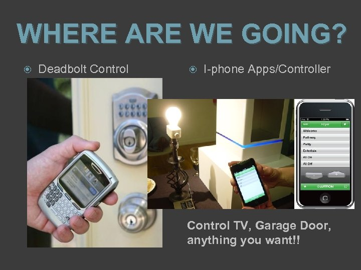 WHERE ARE WE GOING? Deadbolt Control I-phone Apps/Controller Control TV, Garage Door, anything you