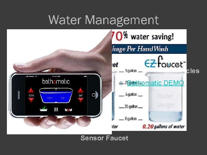 Water Management Programmed bath cycles Bathomatic DEMO Sensor Faucet