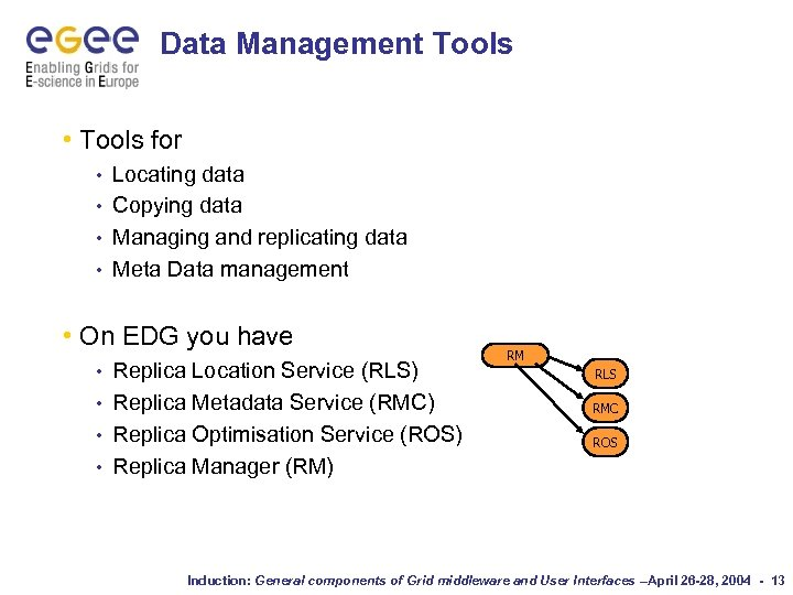Data Management Tools • Tools for Locating data • Copying data • Managing and