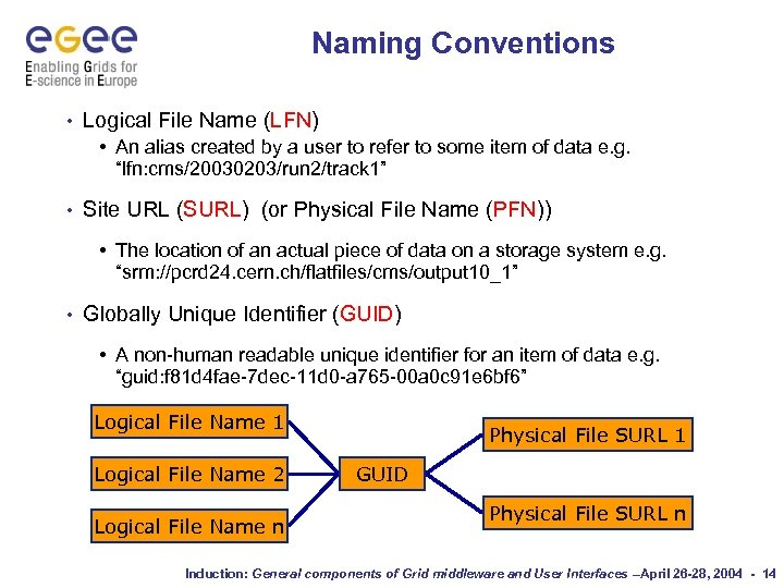 Naming Conventions • Logical File Name (LFN) • An alias created by a user