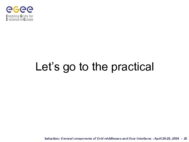 Let's go to the practical Induction: General components of Grid middleware and User Interfaces